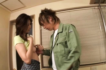 Cute playful Asian babe Nanako Yoshioka enjoys anal insertion