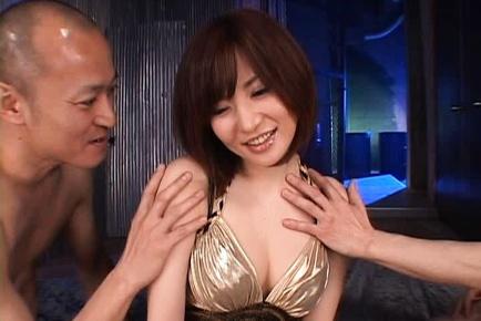 Japanese milf Yuria Satomi enjoys double fucking gets anal creampie