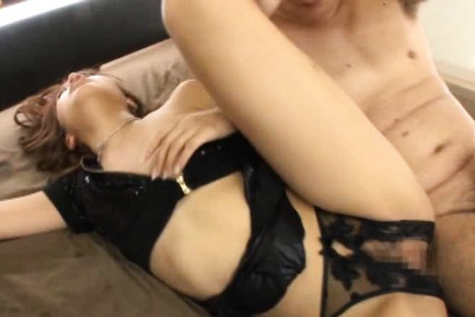 Gorgeous chick in black lingerie Rola Aoyama gets anal and pussy drilled