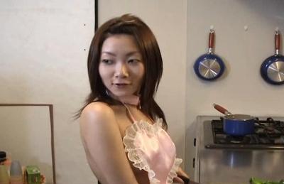 Cute milf Miku Masaki gets stuffed with vegetables on Asian anal porn