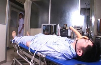 Playful Asian nurse Riho Yu and Natsuki gets her anal hole teased