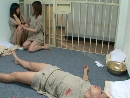 Naughty lesbian gals masturbate their anal and pussy holes in a prison