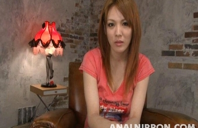 Cute Japanese AV model Rei enjoys toys in her anal and engulfs dick
